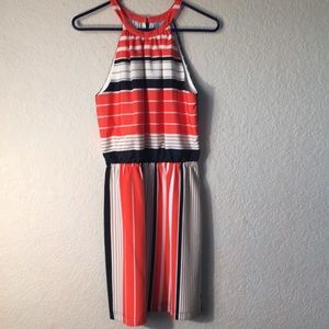 Multi colored striped halter dress